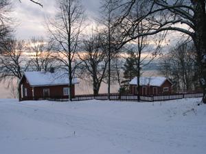 Hoel Gård har 2 familiehytter helt nede ved Mjøsa.